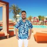 camisa havaina para garçom piscina Ibirapuera