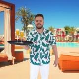 preços de camisa havaiana floral para garçom Santos